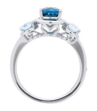 2.53 Carat Oval Cut Blue Topaz and Diamond Ring 14Kt White Gold
