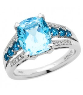 Rings - 3.85 Carat Cushion Cut Blue Topaz and Diamond Ring 14Kt White Gold