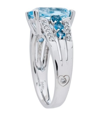 3.86 Carat Cushion Cut Blue Topaz and Diamond Ring 14Kt White Gold