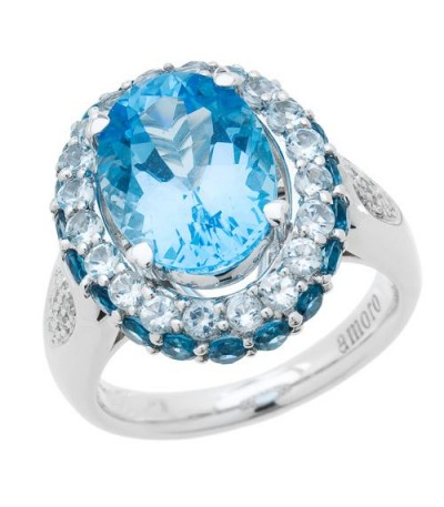 Rings - 7 Carat Oval Cut Blue Topaz and Diamond Ring 14Kt White Gold