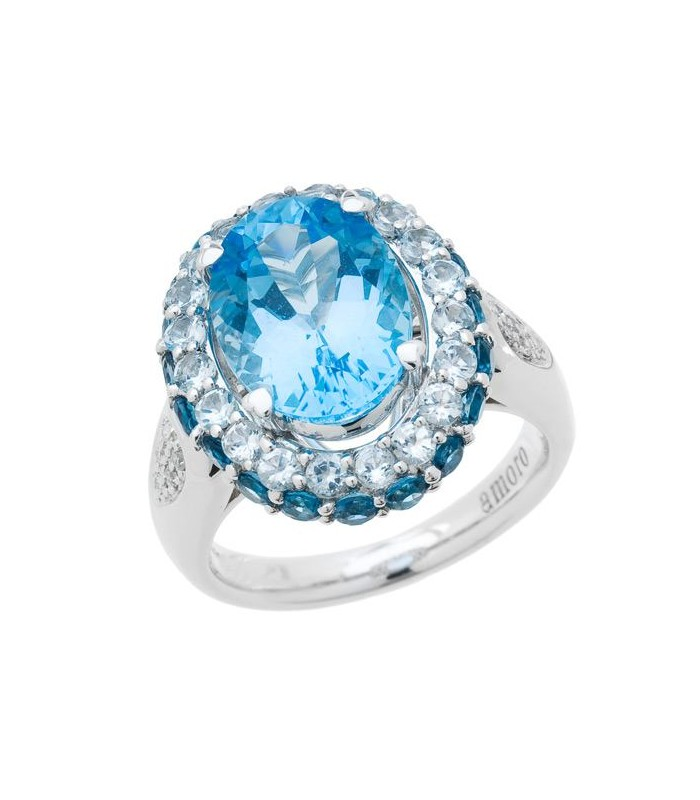 Oval Cut 7ct Blue Topaz And Diamond Ring 14kt White Amoro
