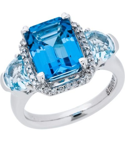 Rings - 5.32 Carat Emerald Cut Blue Topaz and Diamond Ring 14Kt White Gold