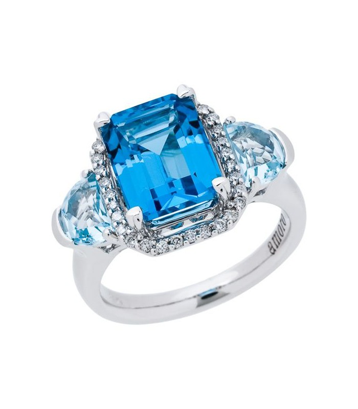 Emerald Cut 5 32ct Blue Topaz Ring 14kt White Gold Amoro