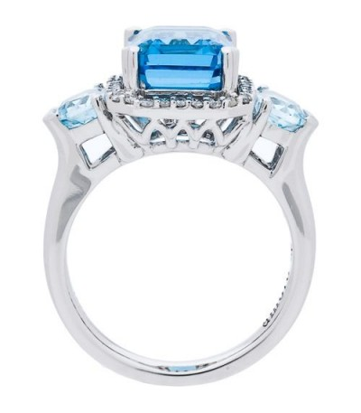 5.32 Carat Emerald Cut Blue Topaz and Diamond Ring 14Kt White Gold