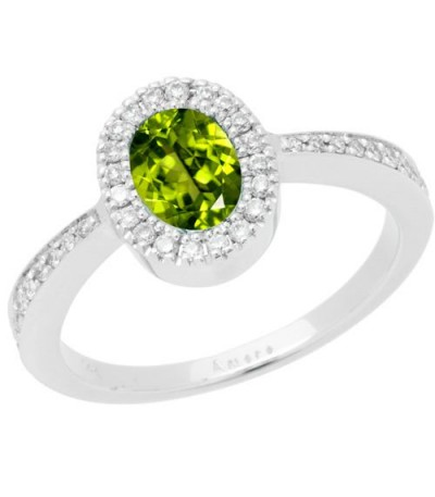 Rings - 1.02 Carat Oval Cut Peridot and Diamond Ring 14Kt White Gold