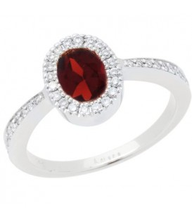 Rings - 1.04 Carat Oval Cut Garnet and Diamond Ring 14Kt White Gold