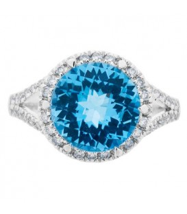 4.71 Carat Round Cut Blue Topaz and Diamond Ring 14Kt White Gold