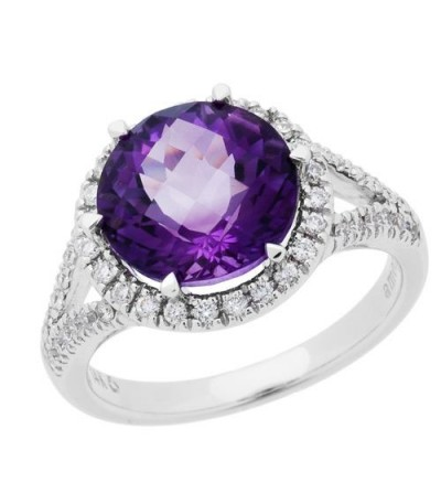Rings - 3.85 Carat Round Cut Amethyst and Diamond Ring 14Kt White Gold