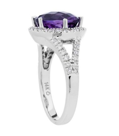 3.85 Carat Round Cut Amethyst and Diamond Ring 14Kt White Gold