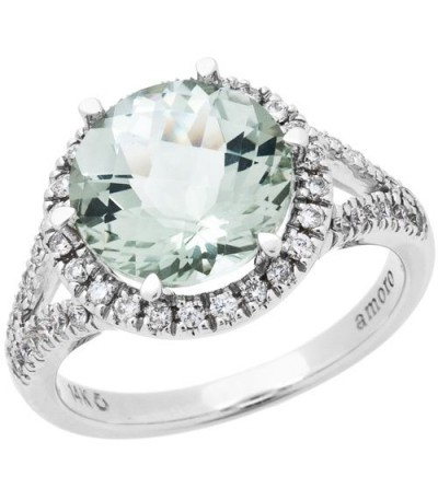 Rings - 3.75 Carat Round Cut Praseolite and Diamond Ring 18Kt White Gold