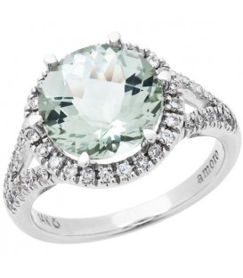 More about 3.75 Carat Round Cut Praseolite and Diamond Ring 18Kt White Gold