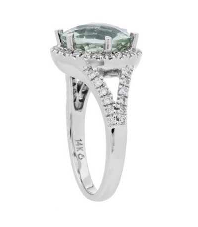 3.75 Carat Round Cut Praseolite and Diamond Ring 18Kt White Gold