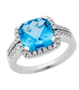 Rings - 3.91 Carat Cushion Cut Blue Topaz and Diamond Ring 14Kt White Gold