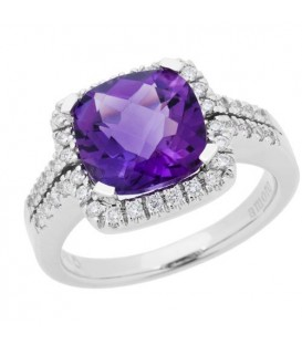 Rings - 3.22 Carat Cushion Cut Amethyst and Diamond Ring 14Kt White Gold