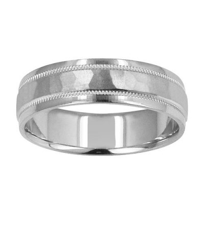 Rings - Mens 6mm Hammered Band 18Kt White Gold