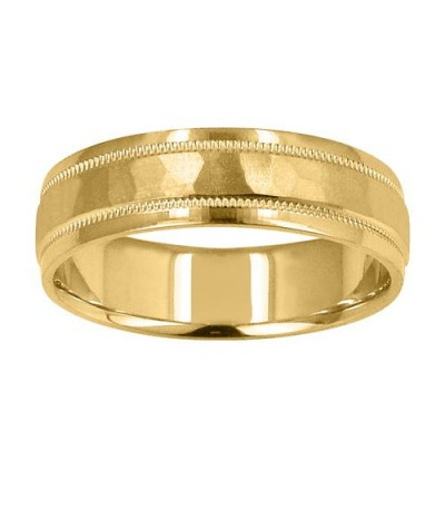 Rings - Mens 6mm Hammered Band 18Kt Yellow Gold
