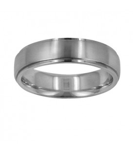 Rings - Mens 6mm Carved Wedding Band 18Kt White Gold