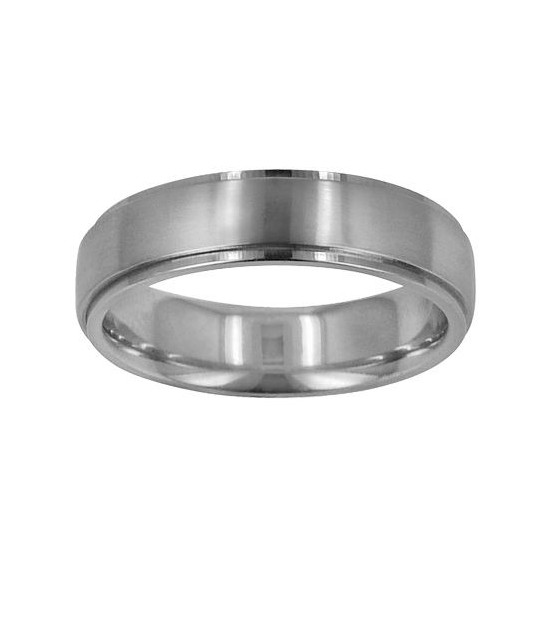 Mens 6mm Carved Wedding Band Frosted Finish 18kt White Amoro