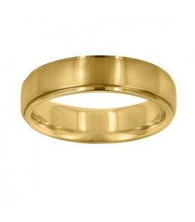 Rings - Mens 6mm Carved Wedding Band 18Kt Yellow Gold