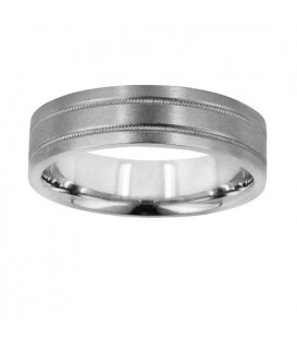 Rings - Mens 6mm Flat Band 18Kt White Gold