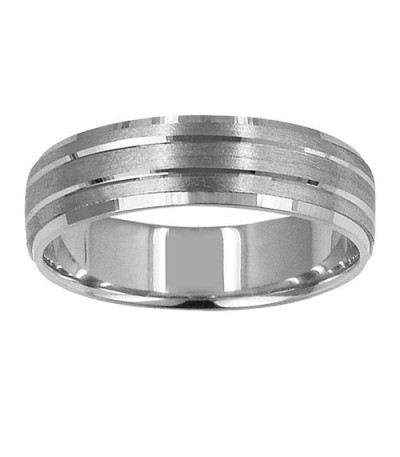 Rings - Mens 6mm Carved Band 18Kt White Gold