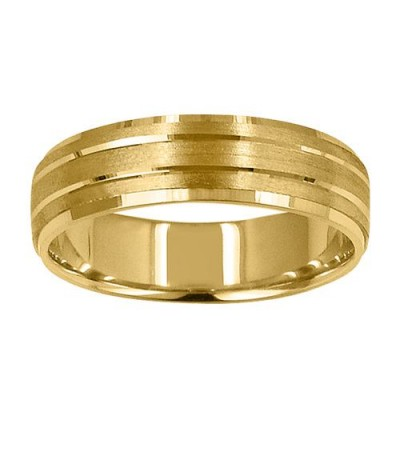 Rings - Mens 6mm Carved Band 18Kt Yellow Gold