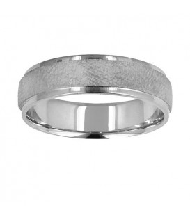 Mens 6mm Dimpled Band 18Kt White Gold