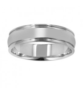 Mens 6mm Domed Band 18Kt White Gold