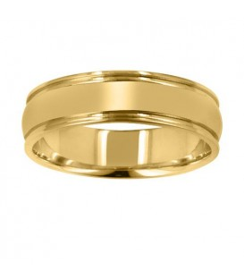 Mens 6mm Domed Band 18Kt Yellow Gold