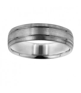 Mens 6mm Matte Band 18Kt White Gold
