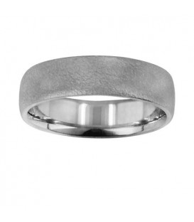 Mens 6mm Dimpled Matte Band 18Kt White Gold