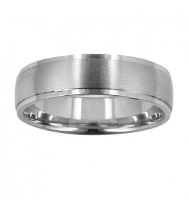 Mens 6mm Matte Center Band 18Kt White Gold