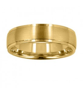 Mens 6mm Matte Center Band 18Kt Yellow Gold