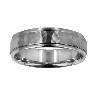 Rings - Mens 6mm Hammer Matte Center Band 18Kt White Gold