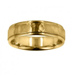 Rings - Mens 6mm Hammer Matte Center Band 18Kt Yellow Gold