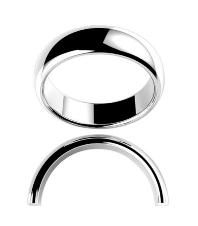 Rings - Ladies 6mm High Dome Full Weight Band 18Kt White Gold