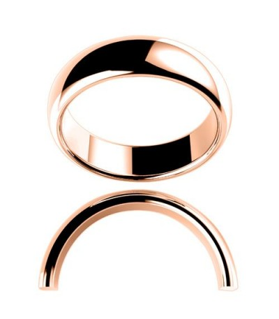Rings - Men's 6mm High Dome Full Weight Band 18Kt Rose Gold