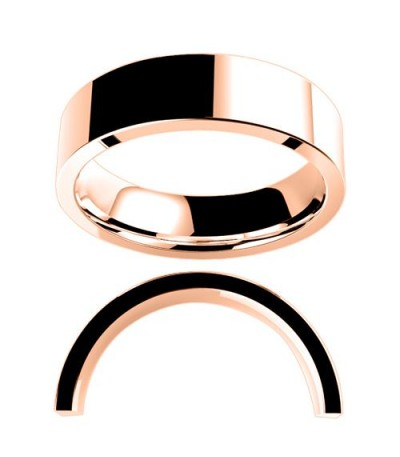 Rings - Men's 6mm Flat Full Weight Band 18Kt Rose Gold