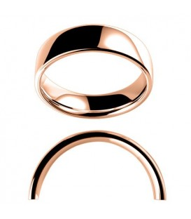 Men's 6mm Low Dome Full Weight Band 18Kt Rose Gold