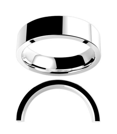 Rings - Ladies 6mm Flat Medium Weight Band 18Kt White Gold