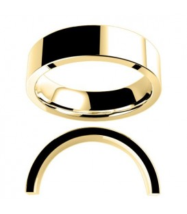 Ladies 6mm Flat Medium Weight Band 18Kt Yellow Gold