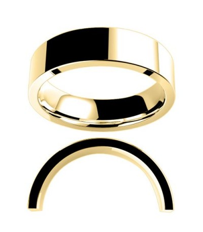 Rings - Men's 6mm Flat Standard Weight Band 18Kt Yellow Gold