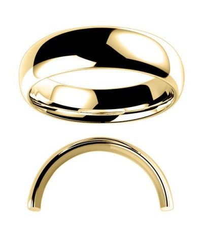 Rings - Men's 6mm Medium Domed Standard Weight Band 18Kt Yellow Gold