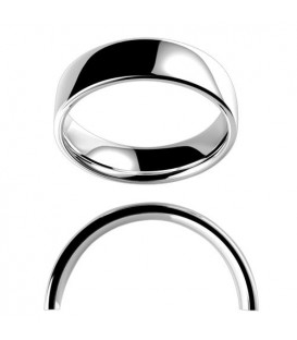 Ladies 6mm Low Dome Medium Weight Band 18Kt White Gold