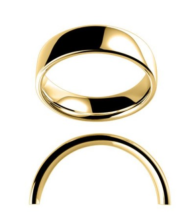 Rings - Men's 6mm Low Dome Medium Weight Band 18Kt Yellow Gold