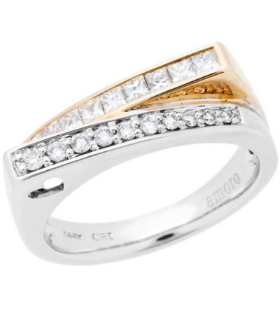 Rings - 0.49 Carat Round Brilliant Diamond Ring 14Kt Two-Tone Gold