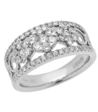Rings - 0.97 Carat Round Brilliant Diamond Ring 18Kt White Gold