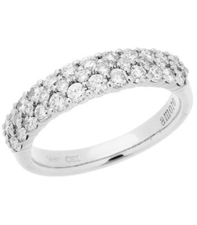 Rings - 0.99 Carat Round Brilliant Diamond Ring 14Kt White Gold