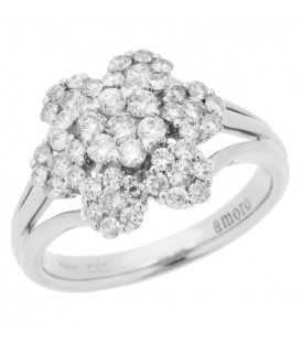 Rings - 0.98 Carat Round Brilliant Diamond Ring 14Kt White Gold
