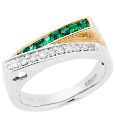 Rings - 0.50 Carat Square Cut Emerald and Diamond Ring 14Kt Two-Tone Gold